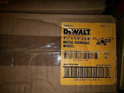 "Dewalt DW4523 4-1/2"" X 1/4"" X 5/8""-11 Metal Grinding Wheel 10Pcs. Per Box"