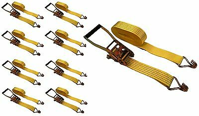 """8 Pc 2"""" inch x 15' Ft Ratchet Tie Down Cargo Straps 5000 Lbs J Hooks 8 pack"""