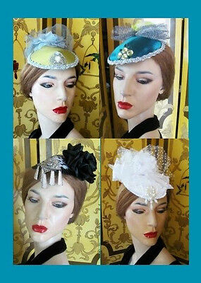 Ladies One-of-a Kind Pink, Brown, Gray, Green Fascinator Hat Unique Accents