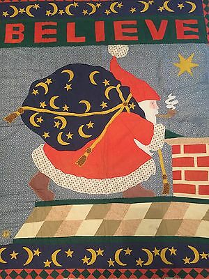 Handmade Christmas Quilt Old World Santa Believe Holiday Blanket Wall Hanging
