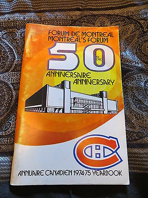 1974-1975 Montreal L'annuaire du Canadien Forum 50th Anniversary Yearbook.