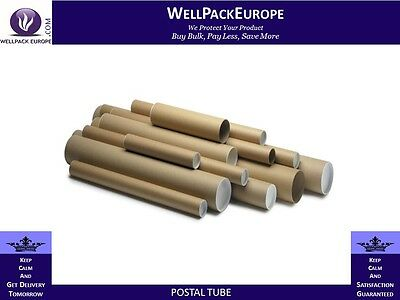 CARDBOARD POSTAL POSTER TUBES + END CAPS - A1 Size - 630mm x 45mm - (1.35mm)