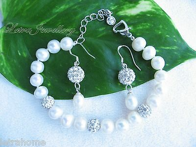 Real Cultured Freshwater Pearl White Shamballa Beads Bracelet Earrings Set Gift
