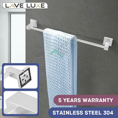 Chrome Square Single Towel Rail Rack 304 Stainless Steel Solid Bar Wall Mounted