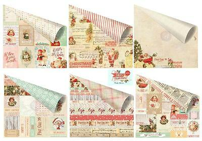 Prima Christmas SWEET PEPPERMINT (6) 12x12 Paper Collection w/ Foil Accent!