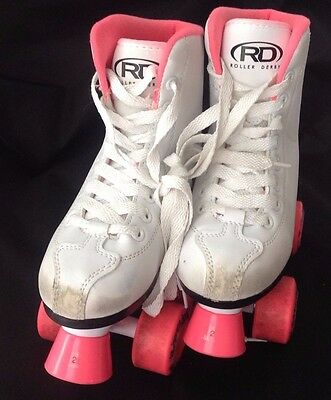 Roller Derby Roller Star 350 Girls White with Pink Wheels Quad Skates Size 2