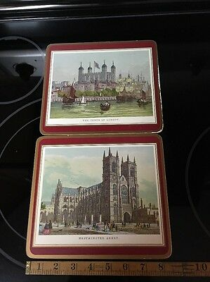 """2 Pimpernel 8.5"""" Cork Board English Placemats Tower Of London Westminster Abbey"""