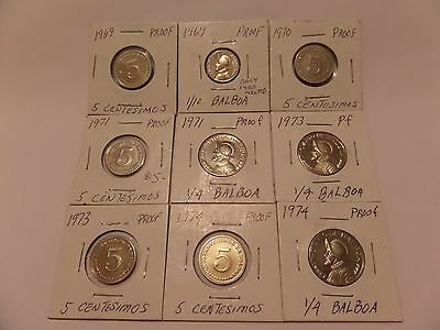 Lot Of 9 Proof Panama Coins 1969 - 1974