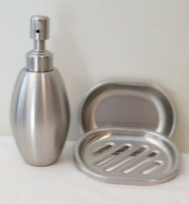 Stainless steel Liquid Pump Soap Lotion Dispenser + Soap Dish 3 designs