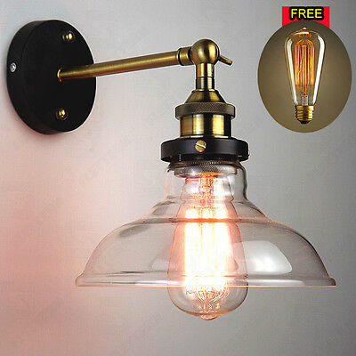 Vintage Antique Industrial Bowl Sconce Loft Cofe Rustic Wall Light Glass Lamp