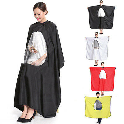 Salon Hair Cut Hairdressing Cape Gown Waterproof Viewing Clear Window 4 Colors