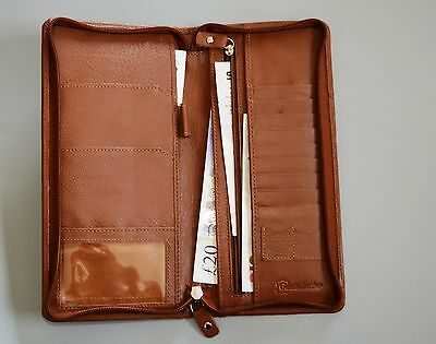REAL LEATHER Travel Wallet 2 Passport Holder Organiser Zip Handcrafted Gift Xmas