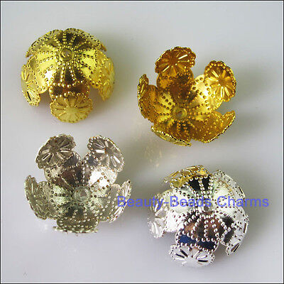 10 New Connectors Filigree Flower End Bead Caps 20mm Gold Silver Plated