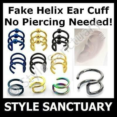 Fake Helix Clip-on Ear Cuff Earring Surgical Steel Piercing Bar Cartilage Ring