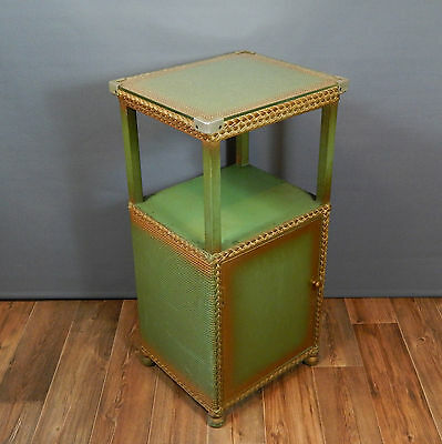 Vintage Green and Gold Lloyd Loom Style Glass Topped Bedside Cabinet 50's 60's