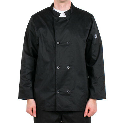 NIB CHEF REVIVAL J061BK-3X Cool Crew Jacket, Black, Long Sleeve, Pearl Button 3X