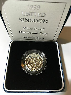 1999 One Pound Silver Proof Coin Box And COA Uncirculated