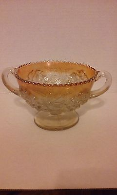 Dugan Puzzle Marigold Carnival Glass Two Handled Bonbon Compote With Floral And