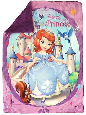 Disney Princess Sofia Reversible Throw Blanket Sherpa 41 X 53 Ultra Soft Blanket