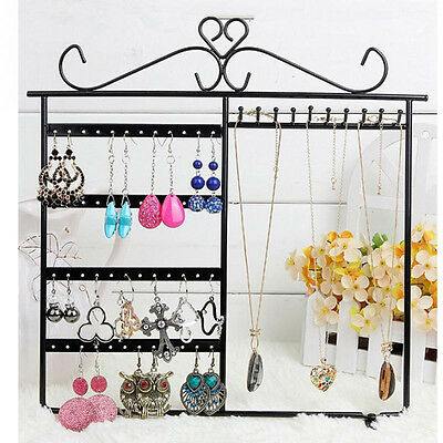 arrings Necklace Ear Studs Jewelry Display Rack Metal Stand Holder Organizer New