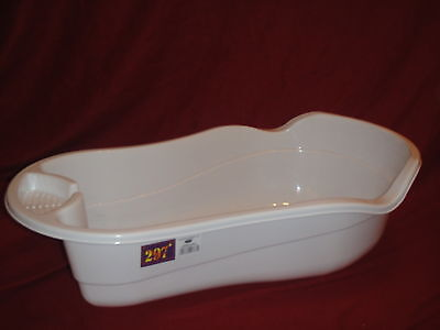 WHITE Large Plastic Large Baby Newborn Kids Deluxe Wash Bath Tub