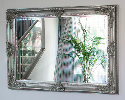 Silver Large Bevelled Wall Mirror & Frame, Antique, Chic, 110cm x 80cm