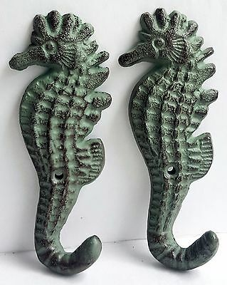 "Pair NEW 5"" Seahorse Cast Iron Hooks Verdegris Look Green - No Hardware"