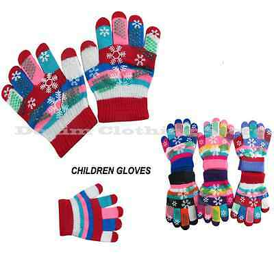 12 pairs Kids Children Boy Girl Snowflake Finger Winter Gloves Xmas Knitted Lot