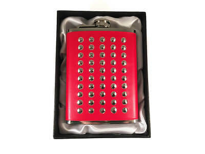 Stainless Steel Studded Red Leather 8oz Hip Flask - Boxed - GREAT GIFT IDEA!