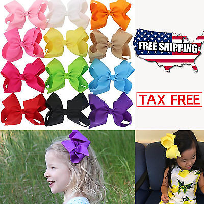 12PCS 6 Inch Baby Girls Big Huge Grosgrain Ribbon Boutique Hair Bows Alligator