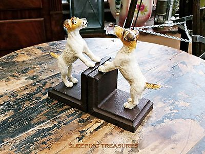 Vintage Style Dog Bookends. Cast Iron, Jack Russel, Fox Terrier, Parson Russell
