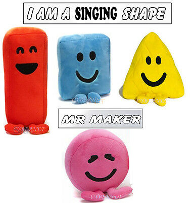 """Official CBeebies Mister Maker KIDS Large 6"""" Soft Toy Shapes with Sound & Songs"""