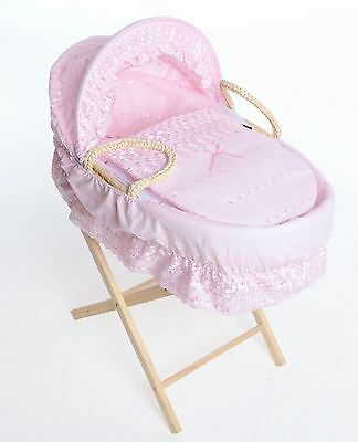 British Made Maize Moses Basket With Pink Dressing. Inc Folding Stand