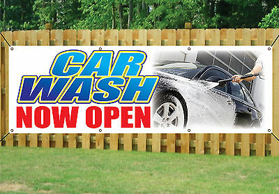 CAR WASH NOW OPEN BANNER SIGN WATERPROOF outdoor waterproof with Eyelets V1