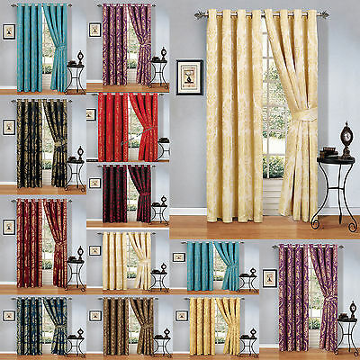 Ring Top Fully Lined Pair Eyelet Ready Made Curtains With 2 Free Tie Backs