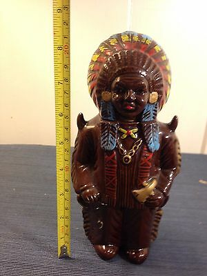 "Vintage 8"" Inch Indian Native American Red man Chief Chieftain Decanter Liquor"