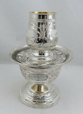 Sterling Silver 925 Maim/Mayim Achronim Hand Washing Cup Last Water Set  Used