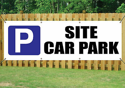 SITE CAR PARK SIGN BANNER LARGE OUTDOOR waterproof PVC + Eyelets