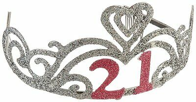 Glitter 21st Birthday Tiara Plastic Elegant Designed Party Accessory One Size