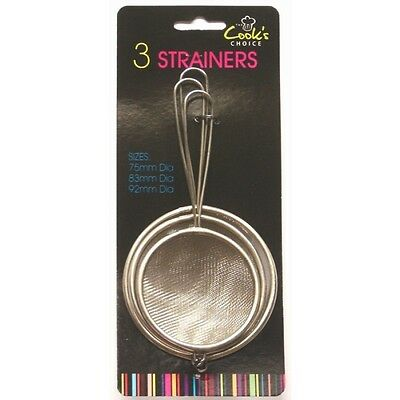 3 Pk Stainless Steel Strainer Mesh Colander Sieve Kitchen Sifter Tea Filter Set
