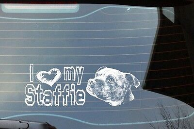 I Love My Staffie, Car Sticker, High Detail, Great Gift For Dog Lover
