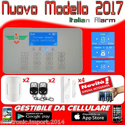 Antifurto Allarme Casa Kit Combinatore Gsm Wireless Senza Fili Display Con Icone
