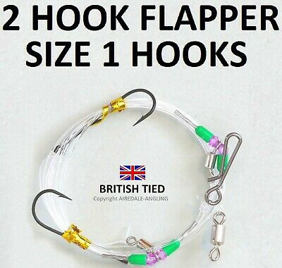 5 x Clipped Rigs Hook Size 2/0  Sea Fishing Tackle Cod Bass etc Rig