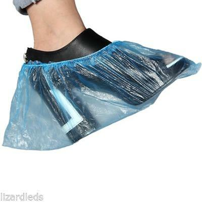50 Pairs of Disposable Shoe Covers Plastic Protective Blue Universal Fit Size