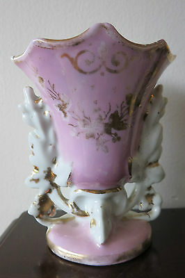 "Beautiful Antique Victorian Decorated Porcelain Vase / Flair 5"" Tall Pink Gold"