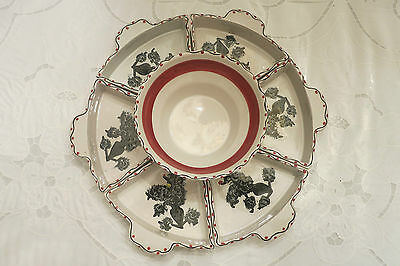 Vintage Porcelain Lazy Susan Handpainted In Italy For I.w.c. Pottery Complete