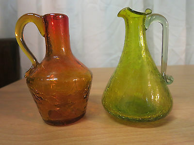 Vintage Cruets Lot Of 2 Crackled Art Glass Green & Amber Beautiful Pieces