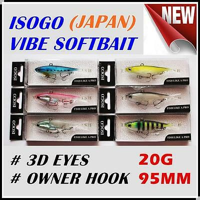 6x Japan 95mm 20g Soft Plastic Fishing Lures Vibe Vibes Jew King Barra  Flathead