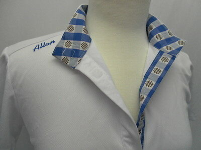 """Allon """"Fly Away"""" Short Sleeve Show Shirt White w/Blue Checker Accent Size Large"""