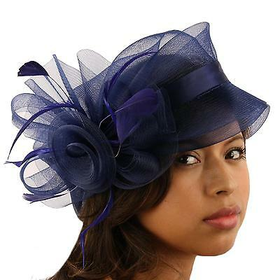 Fancy Handmade Feathers Organza Pin Fascinator Millinery Cocktail Hat Cap Navy